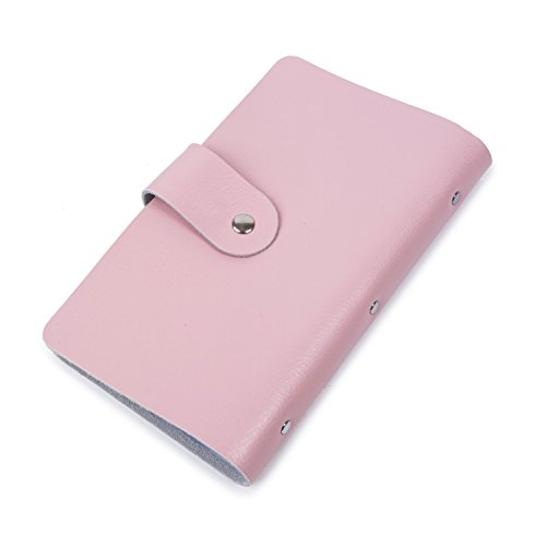 Genuine Leather Credit Card Holder Business ID Card Case Wallet Style 96 Box Name Card Holder Book with Button Pink