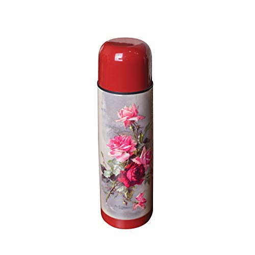 Victorian Trading Lush Roses Vacuum Insulated Water Bottle - Floral Print Hot/Cold Stainless Steel Beverage Canister - Victorian Floral Print