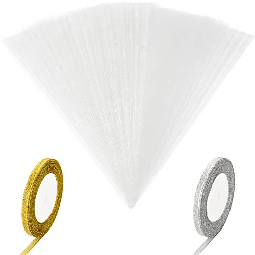 Leinuosen 100 Pieces Clear Cone Bags Transparent Cello Treat Bag Christmas Sweet Gift Bags with 2 Rolls Satin Ribbon for Christmas Party Gift Favor (Gold and Silver Ribbon)]()