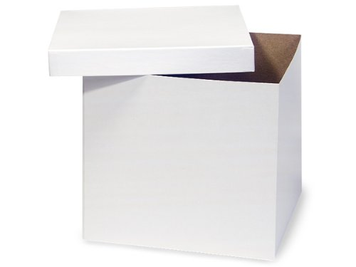 Pack of 50, White Gloss Hi-Wall 10 x 10 x 9'' 100% Recycled Giftware Box Base Use Food Safe Barrier Like Food Grade Tissue or Cello for Food Packaging(Lids Sold Separately) by Generic