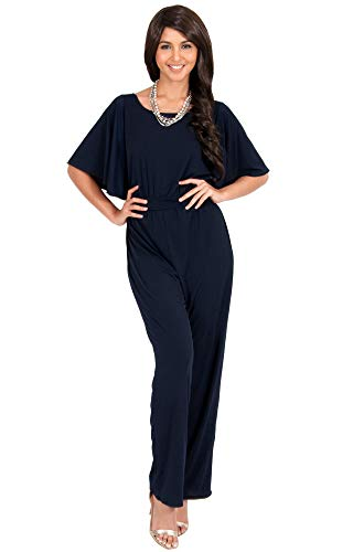 KOH KOH Plus Size Womens Short Sleeve Wide Leg Long Casual Cocktail Pants One Piece Jumpsuit Jumpsuits Pant Suit Suits Romper Rompers Playsuit Playsuits, Dark Navy Blue XL 14-16