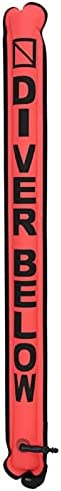 Scuba Diving Surface Marker Buoy, 3.8ft Scuba Diving Inflatable Safety Tube Signal Marker Buoy Tube Diving Saf