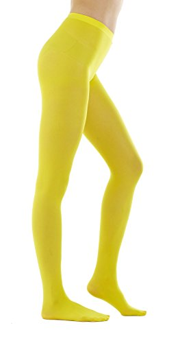 STYLEGAGA Women's 80 Denier Semi Opaque Solid Color Footed Pantyhose Tights 2Pair (M/L, Yellow) ()