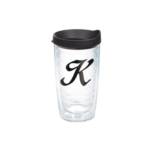 Tervis Tumbler with Black Lid, 16-Ounce, Black Laser - Tumbler With Letter K