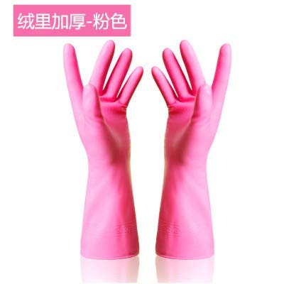 LanDream Toilet Cushion Thin dishwashing Gloves Thick Rubber wash Clothes Rubber Latex Plastic Kitchen Cleaning Housework Waterproof and Durable , L, Short / Plus Velvet Pink