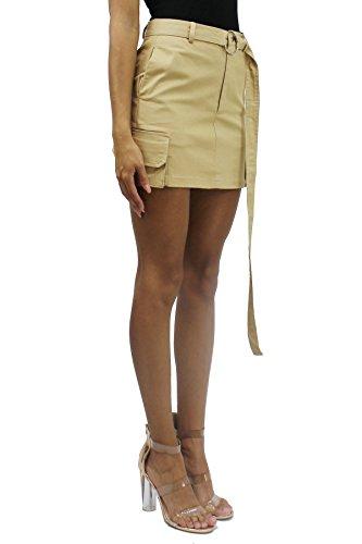 Long Cargo Skirt - Cargo Side Pocket High Rise Long O-Ring Belt A-Line Mini Skirt