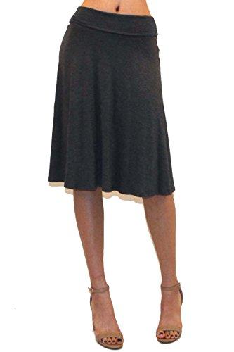Vivicastle Women's Basic Fold-Over Stretch Midi Knee Length Flare Skirt - Made in USA (Medium, AM2, Gray)