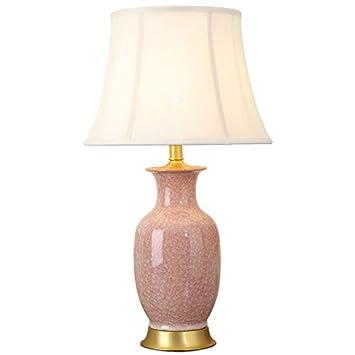 YJFFAN Moderna Simplicidad Rosa cerámica Mesa lámpara Retro ...