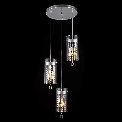 SHENGYADI 3-Light Glass & Crystal Pendant Light Modern G9 Kitchen Island Lighting Round Base Multi Pendant Fixtures, Chrome Finish