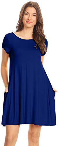 Cobalt Blue Casual T Shirt Dress Regular and Plus Size Short Sleeve Summer Dresses for Women,4X,Cobalt