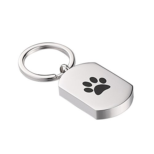 Beydodo Custom Ashes Keychain Urn Stainless Steel Key Ring Womens Mens Dog Tage Footprint Ashes Holder