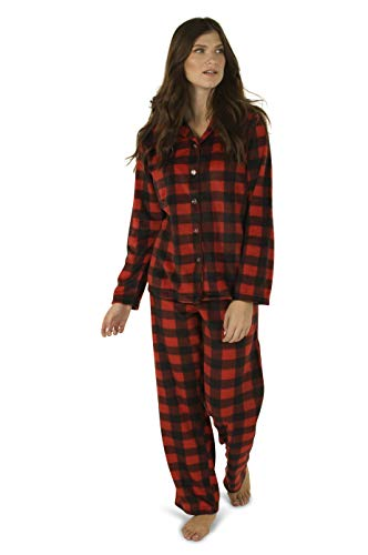 - Totally Pink Women's Warm Cozy Plush Pajama Set (Large, Red Buffalo Plaid)