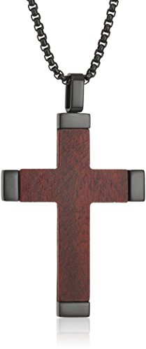 Men's Stainless Steel and Wood Cross Black Ion Plating on 24