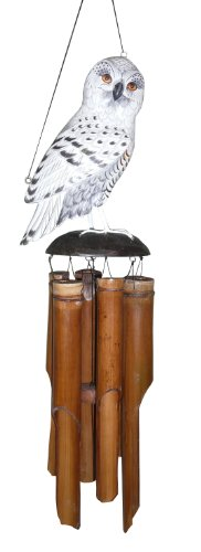 Cohasset Gifts 175SO Cohasset Snowy Owl Bamboo Wind Chime, Hand Painted White & Grey]()