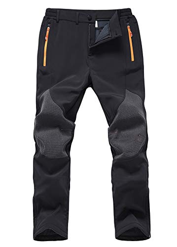Gash Hao Mens Snow Ski Waterproof Softshell Pants Outdoor Hiking Fleece Lined Zipper Bottom Leg (Black, 38W - - Soft Ski Pant Shell