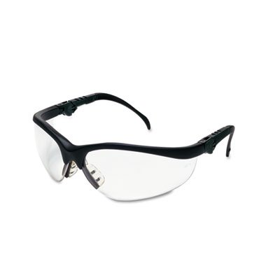 Klondike Plus Safety Glasses, Black Frame, Clear Lens, Sold as 1 Each