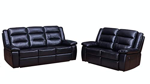 Betsy Furniture 2-PC Bonded Leather Recliner Set Living Room Set in Black, Sofa + Loveseat, Pillow Top Backrest and Armrests 8016-32