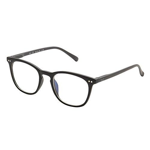 Blue Light Filter Computer Glasses for Blocking UV Headache [Anti Eye Eyestrain] Transparent Lens, Unisex (Men/Women) -(WR01-Black +1.50)