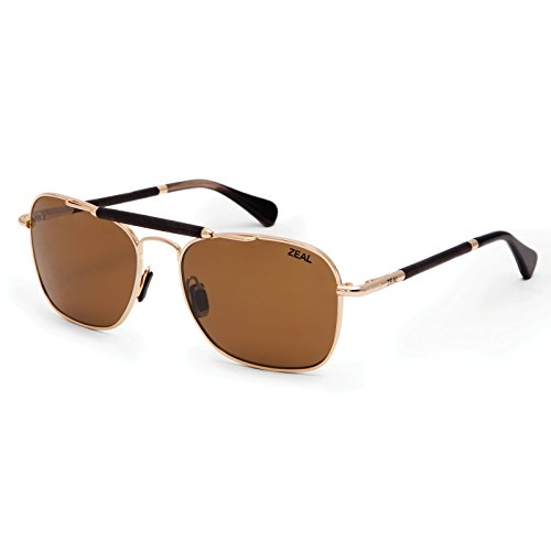 Zeal Optics Draper Polarized Sunglasses - Polished Gold Frame with Copper - Sunglass Zeal