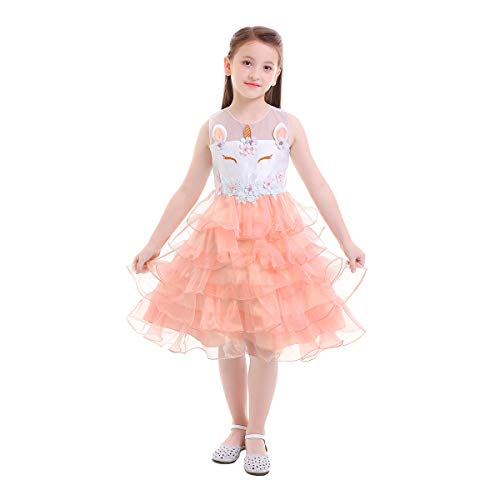 Kids Girls Unicorn Costume Cosplay Party Fancy Dress up Princess Outfits Birthday Wedding Halloween Sleeveless Dresses Prom Ball Gown Baby Clothes for Photo Shoot Peach 3-4 Years -