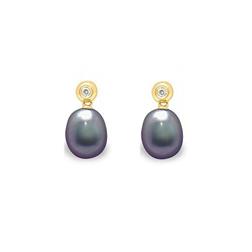 Boucles d'Oreilles Perles de Culture Noires, Diamants et Or Jaune 750/1000 -Blue Pearls-BPS K364 W