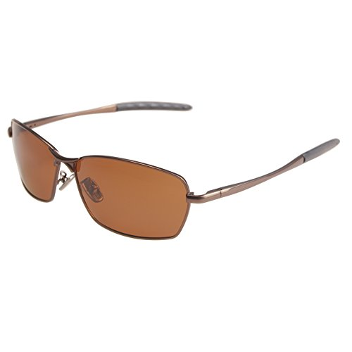ZHILE 8-base Curve Wrap Metal Frame Polarized Oval Sunglasses for Men and Women Driving Fishing (Brown frame Amber lens, - Amber Polarized Sunglasses