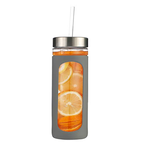 20oz BPA-Free Glass Tumbler Straw and Lid Silicone Protective Sleeve Gray ()