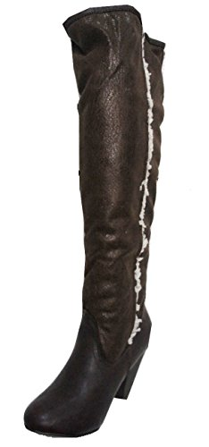 Hæl Heel 6 High Boots F5820 Wide Leg Stretch Ladies Length Bredt Boots På Damer Style Leg Faux Fuskepels On Støvler Støvler Shearling uk Høy 6 Brun Knelange Pull Fur Trekke uk F5820 Stretch Style Knee Shearling Brown wwXAIH