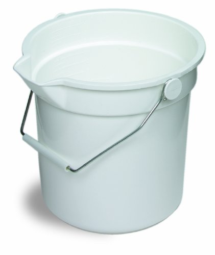 Continental 8114WH, Huskee White Bucket with Steel Handle and Pour Spout, 14qt Capacity, 12-3/16