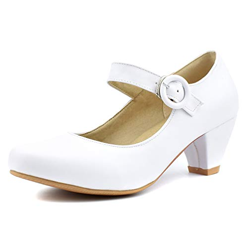 100FIXEO Women Kitten Heel Round Toe Ankle Strap Mary Jane Pumps Shoes (5.5 (B) M US, White)