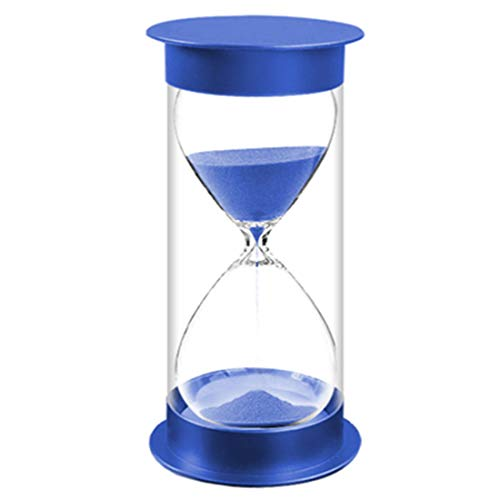 (AblueA Sand Timer Protective Covering, 10 Minutes Plastic Sand Clock Timing Hourglass (Blue Caps Blue Sand))