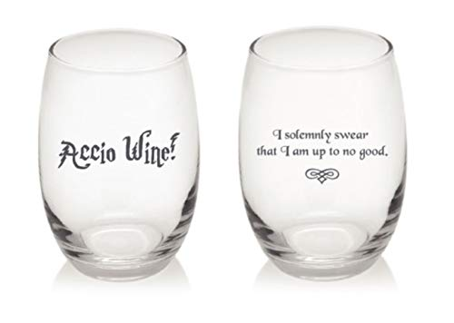 - Accio Wine! and I Solemnly Swear.Combo Set of 2 Unique Harry Potter Style Stemless 15 ounce Funny Wine Glass Combo- 1 Accio Wine and 1 Solemnly Swear
