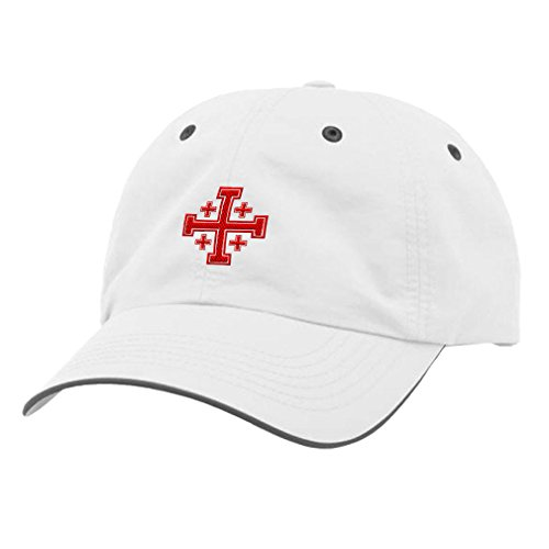 Jerusalem Cross Embroidery Design Richardson Polyester Water Repellent Cap White/Charcoal