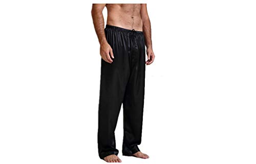 (MISOWN Men's Satin Pajama Pants Solid Color Sleep Lounge Pant Sleep Bottoms (L, Black))