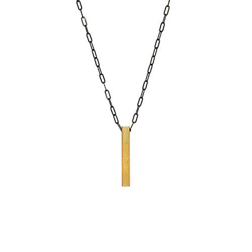 Jezebel Men's Pendant Necklace with Matte Black Steel Chain/Gold Bar - Necklace Tigers Eye Geometric