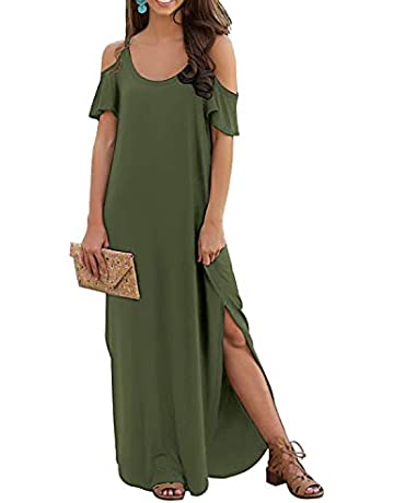1e3aa1b4 GRECERELLE Women's Summer Casual Loose Long Dress Strapless Strap Cold  Shoulder Short Sleeve Split Maxi Dresses
