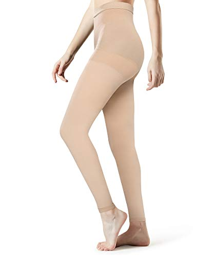 Medical Grade Compression Pantyhose Women Men-Opaque Footless Compression Stockings Pantyhose Support Patyhose Firm Graduated Support 20-30mmHg Helps Relieve Symptoms of Mild Varicose Veins