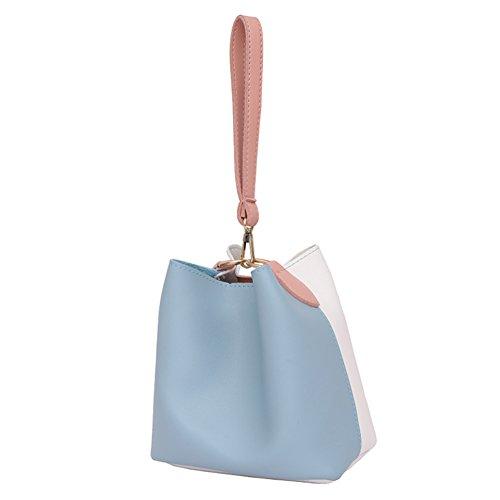 Leather Bag Mini Crossbody Bag Summer Handbag Barrel Women Shoulder Blue Domybest PU qUftw4