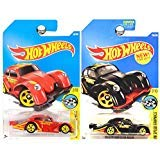 Hot Wheels 2017 Speed Graphics VW Volkswagen Kafer Racer Beetle Bug Red Black MOMO SET OF 2