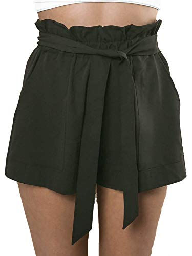 Simplee Women's Casual High Waisted Shorts Sterch Belt Mini Shorts with Pockets Army Green 14 ()