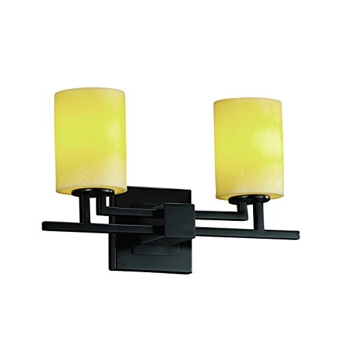 - Justice Design Group CandleAria 2-Light Bath Bar - Matte Black Finish with Amber Faux Candle Resin Shade by Justice Design Group Lighting