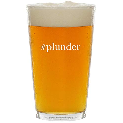#plunder - Glass Hashtag 16oz Beer Pint (The Plunder Dividing)