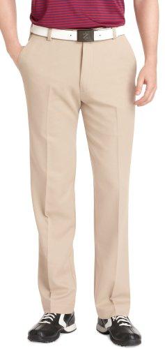 IZOD Men's Flat Front Classic Fit Microsanded Golf Pant, R. Khaki, 40W x 30L (Microfiber Pants)