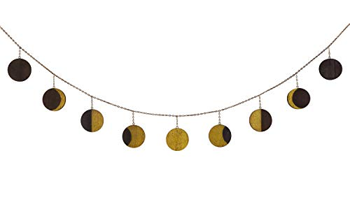 Mkono Moon Phase Garland with Chains Celestial Wall Phases,Boho Chic Bohemian Wall Decor - Apartment Dorm Office Nursery Living Room Bedroom Decorative Wall Art,Gold]()