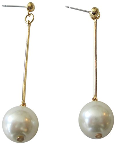 Kenneth Jay Lane Gold Tone Bar with Faux Pearl Drop Pierced Earrings - Kenneth Lane Faux Earrings