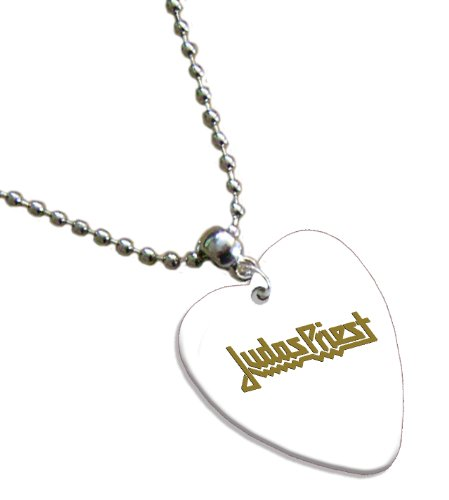 Judas Priest Hot Foil on White Love Heart Pick Collier Médiator