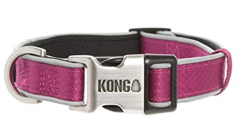 by Barker Brands Inc. Kong Reflective Premium Neoprene Padded Dog Collar (Maroon, Large)