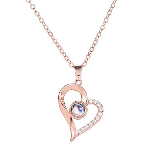 OutTop(TM) Clearance 100 Languages I Love You Valentine's Day Present Memory Projection Necklace Jewelry Birthday Gift for Women (Rose Gold)