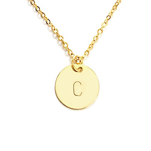 Personalized Round Disc Initial Pendant Necklace up to 3 Letters - CN (Gold)