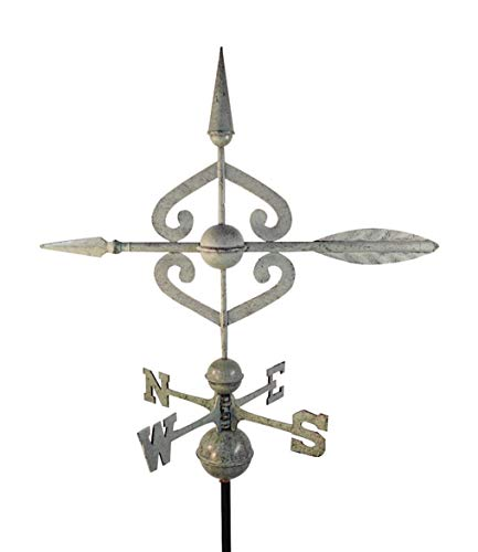 Dalvento 208V Scrolled Arrow Weathervane Aluminum with Traditional Directionals and Globes, Large - Arrow Weathervane Blue